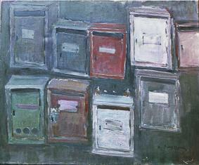 Les boîtes aux lettres, toile de Raoul Bergougnan (1900-1982)