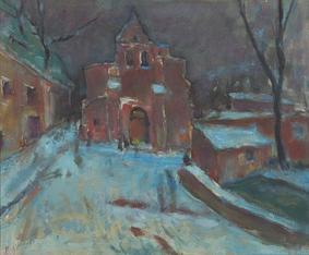 Église de Montaigut Sur/Save, toile de Raoul Bergougnan (1900-1982)